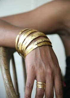 Simple gold bangles. LOVE