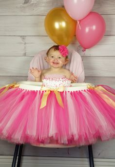 Pink gold Highchair tutu, First birthday, highchair, tutu, High cahir skirt, pink gold first birthday, smash cake by BBMCreations on Etsy https://www.etsy.com/listing/222141095/pink-gold-highchair-tutu-first-birthday