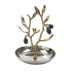 """The Michael Aram Olive Branch Collection is one of the best known and most loved of Michael's motifs. The simple forms create objects that serve wonderfully as stunning individual gifts or an exuberant table setting that decorates an entire moment of your life. The theme itself captures all the most distinctive aspects of Michael's work narrative strength, deep symbolism and extraordinary sculptural expression. Measures 5""""tall, 4"""" in diameter."""