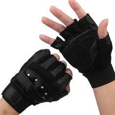 Pro Men's Soft Leather Driving Motorcycle Biker Outdoor Fingerless Gloves