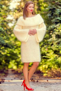 IVORY hand knitted soft & fuzzy sexy cowlneck mohair sweater dress by SuperTanya®. Themohair, together withcashmere ,alpaca andangora is one of the world's most loved materials for making one of a kind, softsweaters ,cardigans and many other premium garments and accessories. | eBay!