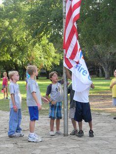 Flag ceremony at Camp Fire's Camp El Tesoro