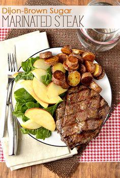 Dijon-Brown Sugar Marinated Steak...just dijon mustard, brown sugar and EVOO...that's it!   | iowagirleats.com