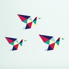 Geometric Flying Ducks Wall Decal/Sticker (x3)