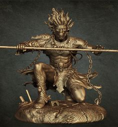 Sun Wukong the Monkey King. Son Goku in Japanese. Also known as  Seiten Taisei (Equal of Heaven, Great and Holy) Digital art by Ketan Patil