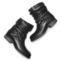 Stivali in pelle con cinturino bata, nero, 594-6201 - 19