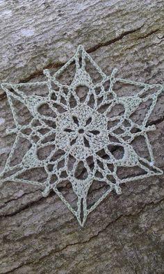 Ravelry: Sunday Snowflake pattern by snowflakepatterns Crochet Snowflake Pattern, Crochet Snowflakes, Doily Patterns, Crochet Motif, Crochet Doilies, Crochet Flowers, Crochet Christmas Ornaments, Christmas Crochet Patterns, Holiday Crochet
