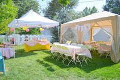 Pink table cloth with yellow table runner vise versa Baby Shower for summer