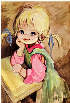 Vintage 70s postcard of a Big Eyed Girl | Flickr - Photo Sharing!