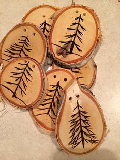 Gift tags-trees wood burning