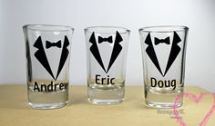 Personalized Bridal Party Wedding Shot glasses for Groom, Groomsman, or wedding gifts bridal party gifts - pinned by pin4etsy.com