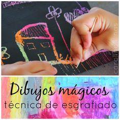 Del Blog Nuestro Mundo Creativo: Dibujos mágicos: Técnica de esgrafiado para niños.