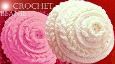 Gorro boina tejido en punto de flor con hojas dobles a Crochet o Ganchillo 24d204a8ba2