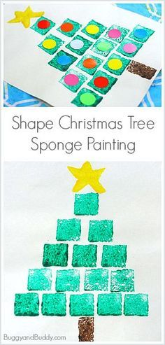 Christmas Art Project for Kids: Sponge Stamped Shape Christmas Tree! Practice math skills (counting, shapes, patterns) in this easy holiday craft for children! ~ BuggyandBuddy.com