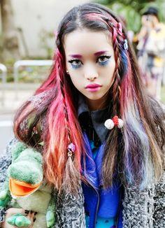Hirari Ikeda, Colored Hair, Braids, Hairstyle, Tokyo Fashion