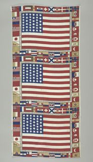 A commemorative textile made for the US Centennial in 1876 in Philadelphia with 39 stars. Around the border are flags of nations that participated in the Centennial. #flagday
