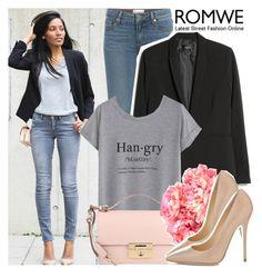 """Romwe Grey Short Sleeve T-Shirt"" by enola123 ❤ liked on Polyvore featuring Paige Denim, MANGO, Salvatore Ferragamo, INC International Concepts, Jimmy Choo, romwe, grey, Tshirt, contestentry and shortsleeve"