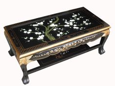 A beautiful collection of authentic traditional Chinese black lacquer furniture with divine cherry blossom flowers and gold leaf designs - UK stock