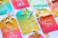 Quick and Easy Ombre Watercolor Holiday Tags. (Paper, Scissors and Superheroes) Holiday Gift Tags, Christmas Tag, Handmade Christmas, Watercolor Cards, Card Tags, Tag Art, Making Ideas, Card Making, Paper Crafts