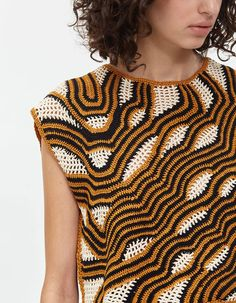 Rachel Comey Women's Urchin Top in Tiger Multi, Size Medium Cotton Crochet, Irish Crochet, Crochet Lace, Rachel Comey, Modern Crochet, Knitwear Fashion, Freeform Crochet, Crochet Woman, Crochet Cardigan