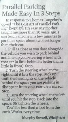 Parallel parking made easy in 3 steps