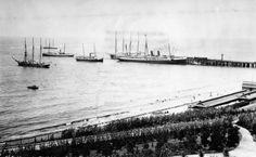 Ships docking art Redondo Beach California pier late 1890's. Unknown Photographer.