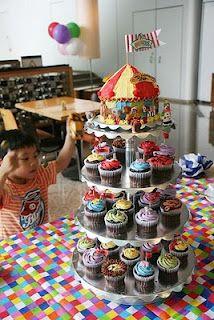 Big top Cupcake Cake and cupcake Tower.
