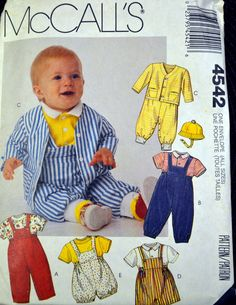 Sewing Pattern McCall's 4542 Infants' Jacket, Overalls,  Romper, Tops, and Hat  Size Newborn to 36 lbs Uncut by GoofingOffSewing on Etsy