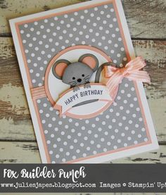 "107 Likes, 6 Comments - Julie Kettlewell (@thepaperhaven) on Instagram: ""On the blog today is this cute mouse card made with the Fox Builder punch and cased from my friend…"""