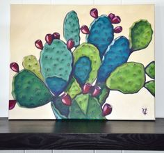 Prickly Pear Cactus Painting by Carin Vaughn. Art