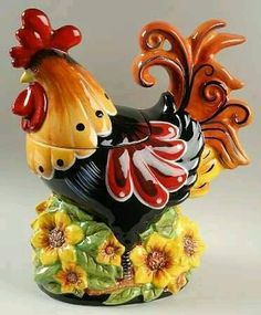 Chanticleer Rooster Figurine Cookie Jar & Lid by Certified International Rooster Kitchen Decor, Rooster Decor, Jar Jar, Jar Lids, Antique Cookie Jars, Ceramic Rooster, Chickens And Roosters, Vintage Cookies, Cute Cookies