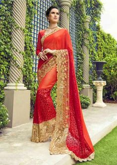 6cc2b3f112 Ivimal Amazing Collection · IVImal Spectacular Peach Colored Embroidered Faux  Georgette Net Partywear Saree - 96081 Bridal Silk Saree,