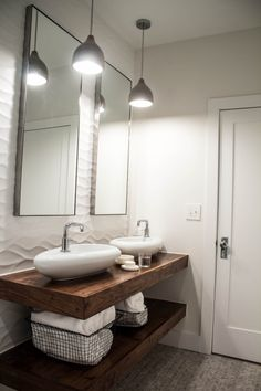 Beauty on a Budget: 6 Chic and Cheap DIY Bathroom Vanity Plans Diy Farmhouse Bathroom Vanity Bathroom Vanity at Lowes, Bathroom Vanity and Linen Cabinet Wanna try this idea soon? Floating Sink, Floating Bathroom Vanities, Diy Bathroom Vanity, Bathroom Renos, Bathroom Interior, Floating Shelves, Lowes Bathroom, Bathroom Ideas, Remodel Bathroom