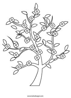 albero-primavera-fiori Flower Coloring Pages, Adult Coloring Pages, Coloring Sheets, Colouring, Flower Template, Art Template, Art Drawings For Kids, Easy Drawings, Family Tree Quilt
