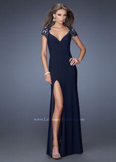 La Femme 20011 - Navy Beaded Fitted Jersey Prom Dresses Online #thepromdresses