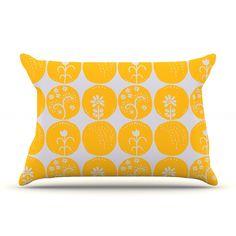 """Anneline Sophia """"Dotty Papercut Yellow"""" Circles Gray Pillow Case"""