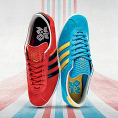 THIS PAIR OF ADIDAS TRAINERS WERE RELEASED IN LIMITED NUMBERS AS PART OF THE CELEBRATIONS OF THE 2012 OLYMPICS IB LONDON - FINISHED IN POPPY RED/BLACK ABD TURQUOISE/YELLOW THEY ARE NOW HIGHLY COLLECTABLE