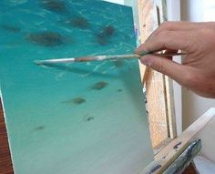 Always wondered how artists are able to paint water and capture that elusive, reflective surface? How to paint water, example of refraction painting. Fun ocean class with the kids. Acrylic Painting Techniques, Painting Videos, Painting Lessons, Watercolor Techniques, Art Techniques, Art Lessons, Painting & Drawing, Painting Tips, Painting Process