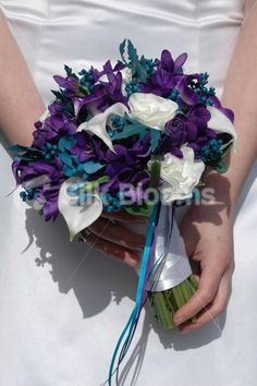 Modern, Teal and Purple Calla Lily & Freesia Artificial Wedding Bridal Bouquet