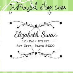Swirl DIY Wedding Return Address Custom Rubber Stamp by JLMould.etsy.com perfect for DIY Brides or return address stamps for your thank you cards