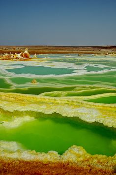 Dallol Acid Garden, Ethiopia - considered to be one of the two hottest places in the world (other being Death Valley).