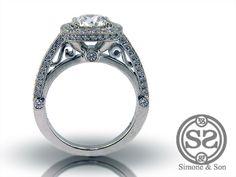 Halo Design Engagement Ring With Pave Set Diamonds & Diamond Center | Simone & Son | Orange County Custom Jewelry