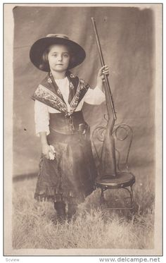 RP: Western Cowgirl kid with a gun portrait , 00-10s Item number: 284339173  - Delcampe.com