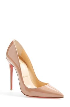 Free shipping and returns on Christian Louboutin 'So Kate' Pointy Toe Pump at Nordstrom.com. This glossy So Kate pump boasts Christian Louboutin's finest stiletto heel, set near-vertical to dramatically shape your gait into a jaw-dropping stride. The iconic red sole—born from a brush with red nail color—pops beneath the graceful curves.