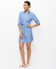 cde9168c8f8 Ann Taylor Striped Dress Striped Linen