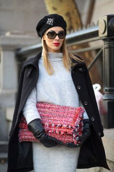 Sweater dress and a beret. #NYFW