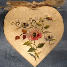 Rare French Relic Convent Work Heart Embroidery Original Paintings Prayers
