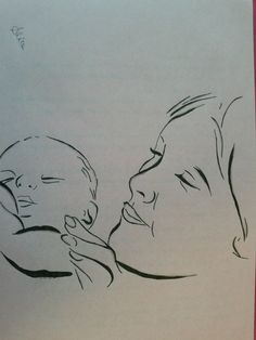 Pencil drawing on wax paper. Mother and son (2). The love of a mother for her child.