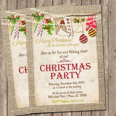 Rustic Burlap Christmas party invitation Card