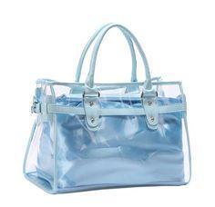 women's shoulder bags: VOCHIC Clear Transparent Tote Shoulder Bag Satchel, Beach Handbag for Women (Sky Blue) Transparent Raincoat, Transparent Bag, Clear Backpacks, Cool Backpacks, Clear Plastic Bags, Clear Bags, Postman Bag, Clear Handbags, Pandora Bag